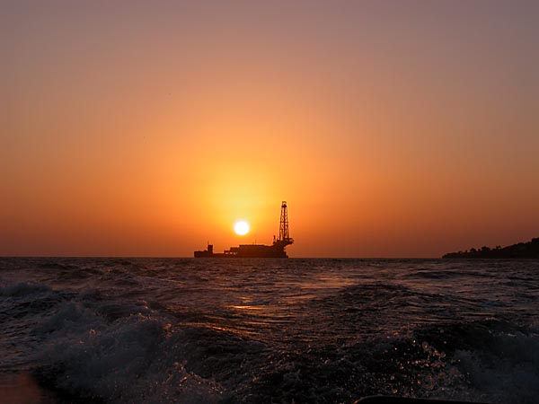 Sunset Over Rig